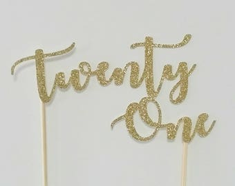 Twenty One Cake Topper - GOLD - Glitter Cake Topper - 21st Birthday