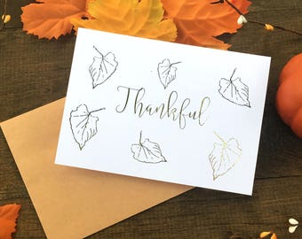 Thanksgiving Card - Thankful Card - Foil Card - Thank You Card - Handmade Card - Gold Foil Card - Card for Her - Card for Him - Just Because