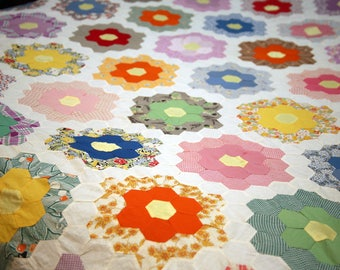 Colorful Vintage Hand Stitched Quilt Top