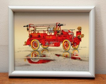 H. Hargrove Fire Engine Wagon Framed Original Oil Painting With Certificate