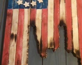 Wooden battle worn rustic american flag