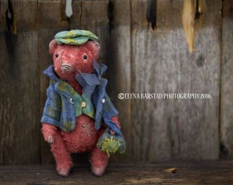 Prohor the traveller, teddy bear, teddy artist, vintage style,  textile art, soft sculpture, stuffed, viscose