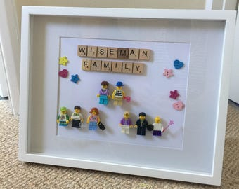 Hand made, personalised LEGO family art in wooden frame - large family, 7+ characters