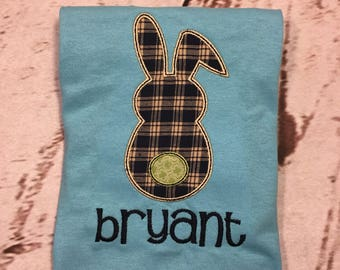 Boys Easter Bunny Backside Tail short sleeve shirt with name Toddler and Youth size FREE SHIPPING