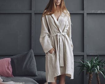 Pure natural linen bathrobe with pockets, soft linen robe, linen dressing gown, morning gown, nightgown, linen clothing, natural loungewear