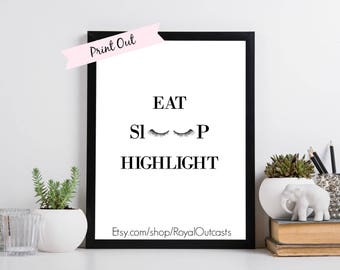 ON SALE!!! 5 Printables- Eat, Sleep, Highlight | Black, Rose Gold, Gold, Grey marble, Gold marble