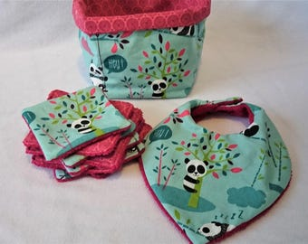 Fabric basket, bib bandana and wipes washable panda
