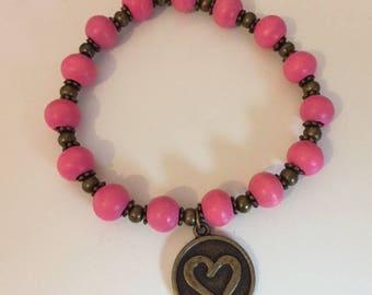 "Bracelet pink collection ""Zen"" wood beads"