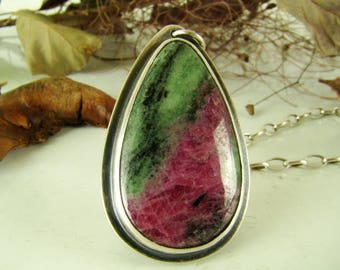 Ruby Zoisite Pendants, Sterling Silver 925,Oxidised,Handmade