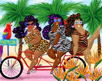 Big Mama's canvas animal prints on triplet bike!