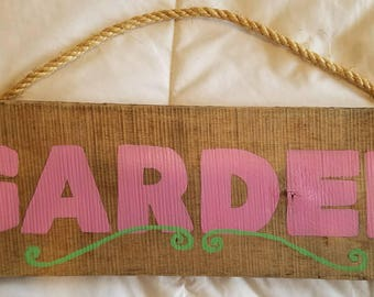 Wooden Garden Sign  Home Decor  Wall Hanging  Repurposed Materials