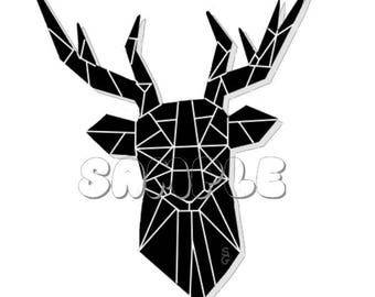 Prismatic Deer Head Glossy Sticker