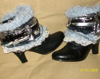 Black, Silver and Light Blue Upcycled Boho Boots