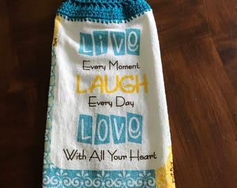 Crochet Towel (Live Laugh Love)