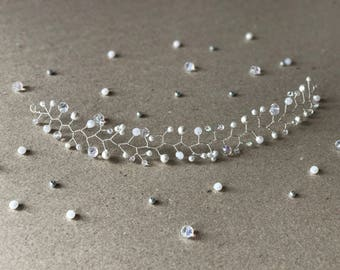 Crystal and Pearls Bridal Flower Silver Wire Hair Vine, Wedding Hair Accessories, Bridal Hair Pieces, Bridesmaid Jewelry, Bridal Hair Vine