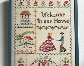 Vintsge crosstitch Welcome to our Home art