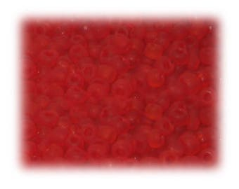 6/0 Strawberry Red Frosted Rainbow Glass Seed Beads, 1 oz. bag