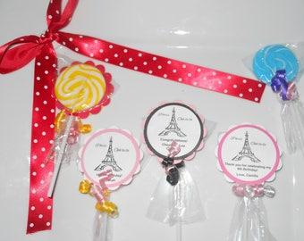 "24 Eiffel Tower Paris Ooh La La 2"" hard candy swirl lollipop with custom tags Party Favors Wedding Favor Baby Shower Bridal Shower Birthday"