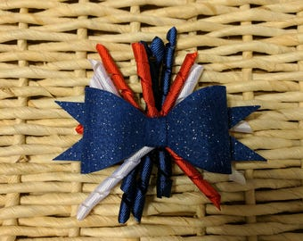 4th of July bow with curly ribbon