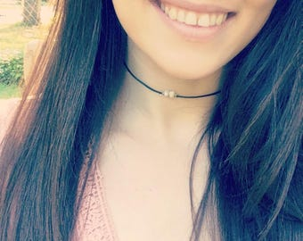 Black Pearl Beaded Choker Necklace