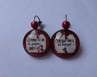"""Earrings cabochon 20mm bronze """"The little Red Riding Hood"""""""