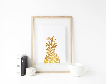 Gold pineapple print home decor