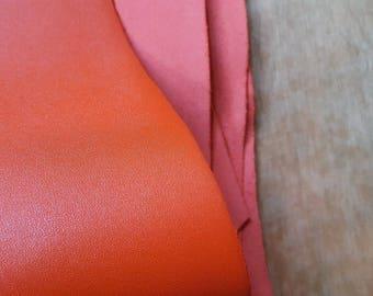 Orange Italian Leather Hide APX. 1.80m2 1.5mm thick