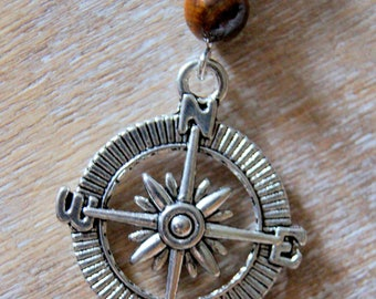 Tiger eye and compass pendant