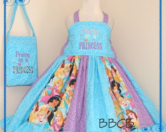Blue Purple - PRETTY as a PRINCESS Dress & Purse set - Ready to Ship fits aprxx 3T 4T 3/4 - Birthday Party - Jasmine Tangled Belle