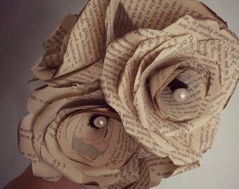 Burnt Book Page Roses with Pearls