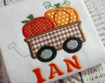 Machine embroidery applique pumpkin wagon, Fall applique design, applique pumpkin embroidery design, applique boy wagon instant download