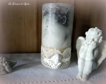 Candle decorated with angels and lace old 13 cm