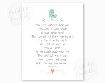 BABY SHOWER GIFT for Boys, Psalm 121, Bible Verse Printable, The Lord Watches Over You, Scripture, Boy Nursery Printable, Instant Download