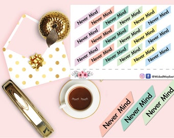 Never Mind Tab Planner Sticker, Tab Stickers, Planner Tab Stickers, Pastel Tabs, Scrapbook Sticker, Planner Accessory - 18 Stickers