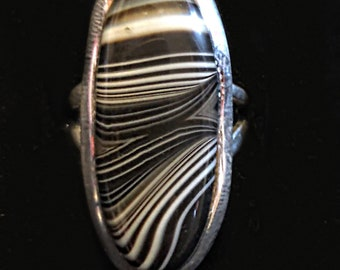 Black Botswana Agate 925 Sterling Silver Ring Size 5.5.  Metaphysical Reiki Wicca Grounding