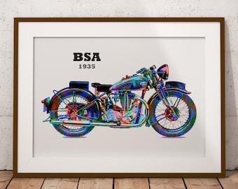 BSA 1935, Motorbike, Vintage Vehicle, Classic Motorbike, Motorbike Design, Motorbike Gifts, Motorbike Poster