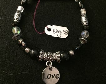 Black and Silver Love Charm Beaded Bracelet