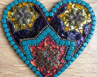 Flower and Star Hanging Heart Mosaic