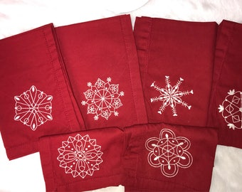 6 embroidered cloth napkins for winter, snowflakes