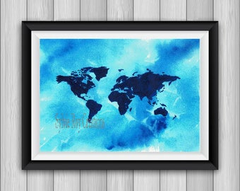 digital download, print, world map, wall decor, office, watercolor, instant download, maps, world image