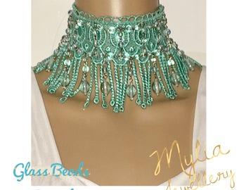 Tassel collar Choker Aqua With gkass beads