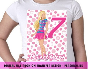 Barbie Iron On Transfer , Barbie Birthday Shirt DIY , Barbie DIY Shirt Design , Barbie , Iron On Transfer , Digital File , Personalize Name