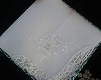 "Beautiful Vintage Irish linen and shamrock  lace embroidered ""Wedding bells""  bridal wedding hankie handkerchief boxed"