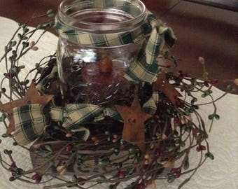 Mason jar flameless candle arrangement - (Country Green)