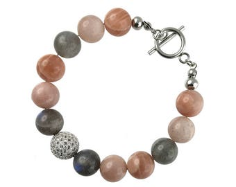 Labradorite, Peach Moonstone and Sunstone Bracelet