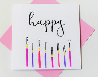birthday card|candles|handmade|card for him|card for her|blank greetings card