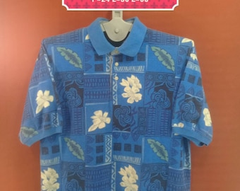 Vintage Buggle Boy Shirt Polo Shirt Fullprint Wild Floral Shirt Blue Colour Size L Hawaiian Shirts Aloha Shirts Sun Surf Shirt Pop Art