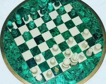 Large Vintage Malachite Chess Board with completed set