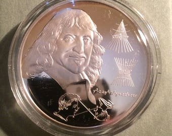 Rene' Descartes - Sterling Silver History of Science (Proof)