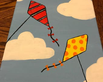 Lets Go Fly a Kite handpainted 9x12